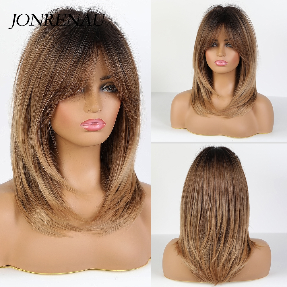 JONRENAU Long Natural Wave Dark bown Ombre Ash brown Hair wigs Synthetic Party Daily Use Wig for White Black Women