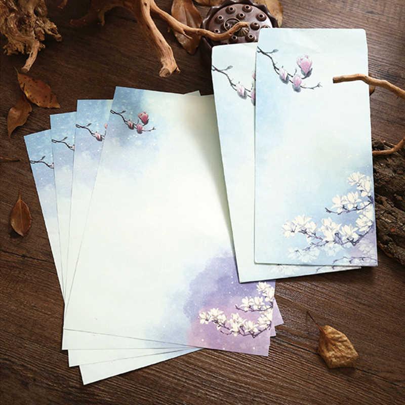 6 Buah/Set Kertas Lucu Amplop Surat Kertas Set Cina Lukisan Tinta Lotus Bunga Kerajinan Amplop Undangan Kawaii Stationery