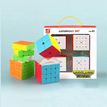 Qiyi Cube 2x2 3x3 4x4 5x5 Magic Speed Cube Stickerless Puzzle Cube 3x3x3 4x4x4 Professional Cubo Magico Educational Toys For Kid qiyi dna plane concave 3x3x3 magic puzzle cube professional stickerless speed 3x3 toys for children gift