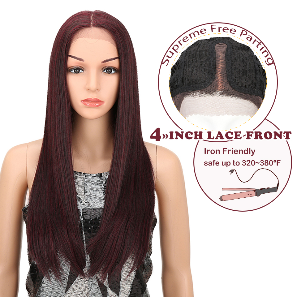 Magic Hair Heat Resistant Hair 28 Inch Synthetic Lace Front And T Part Wig For Women Long Straight Hair Heavy Density Wigs
