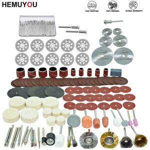 Image 1 - 100 pces/gravador ferramentas abrasivas acessórios dremel conjunto de acessórios ferramenta rotativa se encaixa para dremel broca moagem polimento lâmina de serra