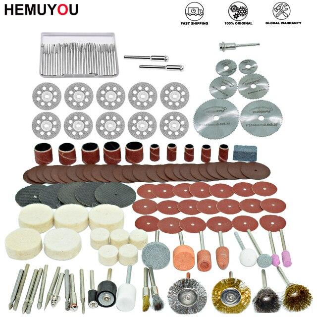 100 pces/gravador ferramentas abrasivas acessórios dremel conjunto de acessórios ferramenta rotativa se encaixa para dremel broca moagem polimento lâmina de serra