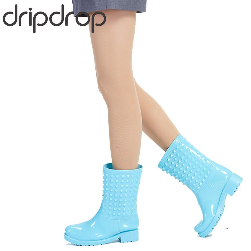DRIPDROP Rubber Rain Boots Fashion Women Rivets Colorful Rain Boots Non-slip Girls Waterproof Rain Shoes