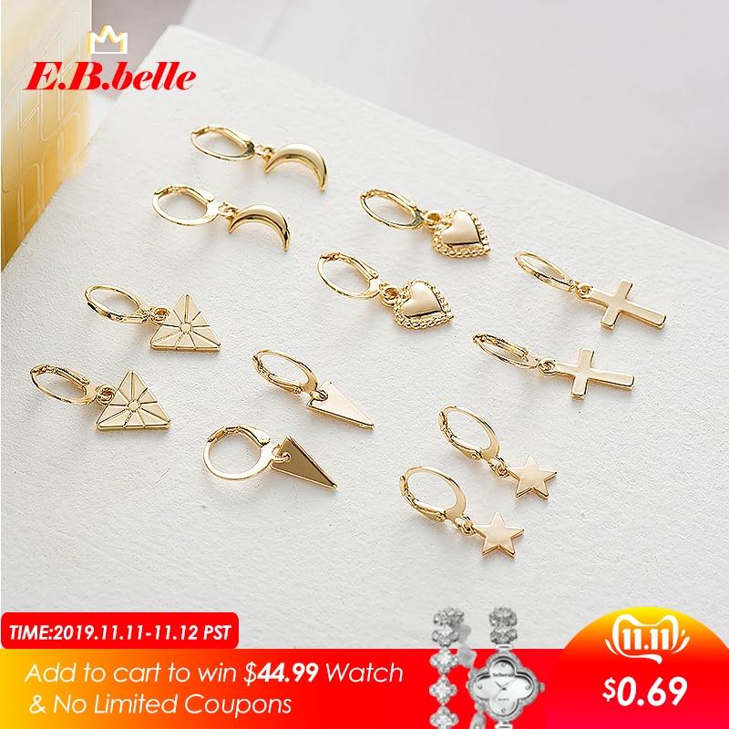 Christmas Jewelry Minimalist Gold Color Meatl Cross Heart Geometric Triangle Star Moon Charm Small Hoop Earrings For Women