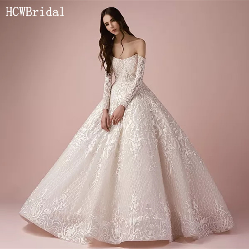 Flash Deal 2019 Luxury Dubai Lace Wedding Dresses Robe De Soiree Princess Off The Shoulder Puffy Bridal Dress Customize Vestido De Noiva September 2020