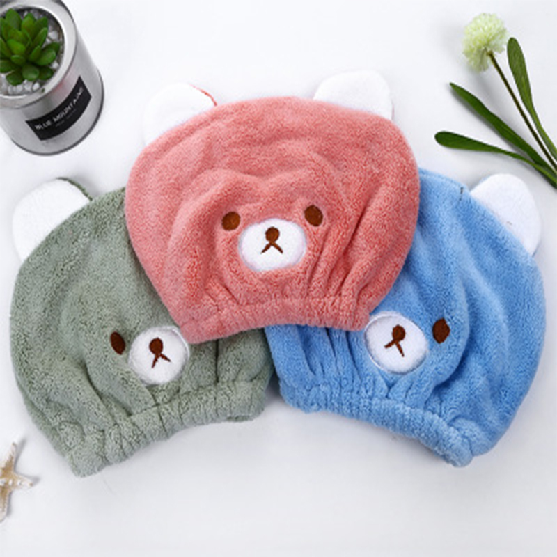 Children Towels Cute Animal Baby Embroidery Super Absorbent Dry Hair Cap Kids Cutes Cartoon Drying Ultra Soft Cotton Hair Towels
