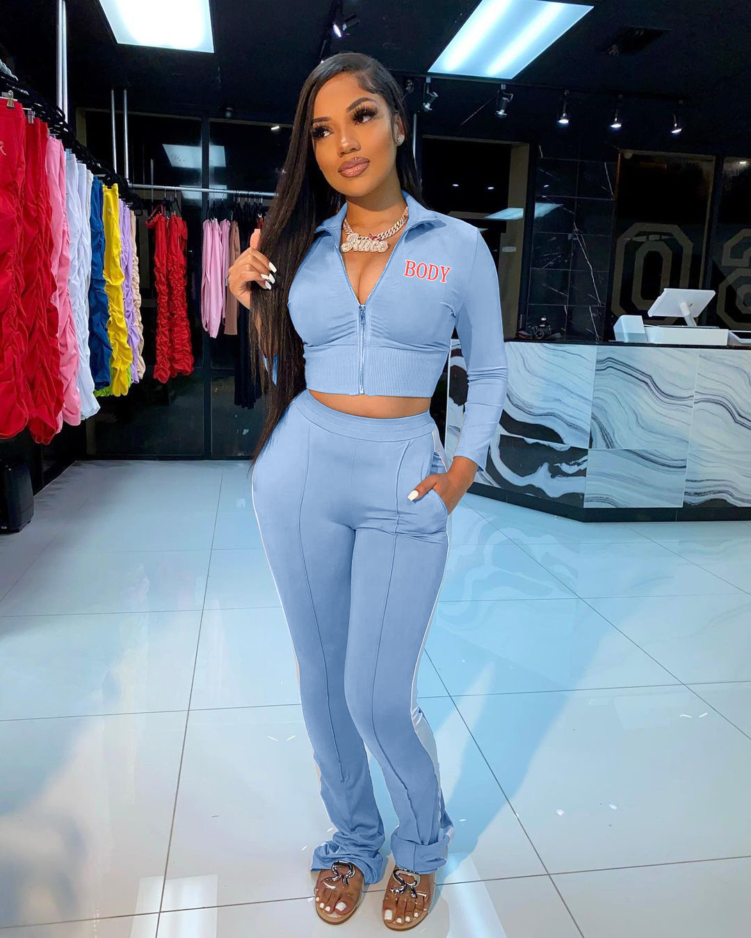 Echoine Body Letter Print Two Piece Set Woman Stand Neck Long Sleeve Crop Top And Pencil Pants Casual Workout Tracksuit