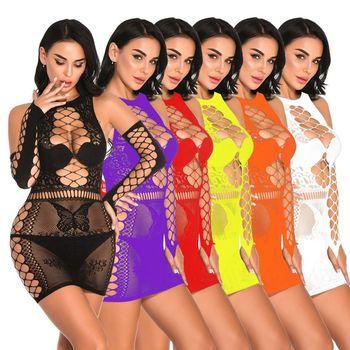 Сексуальное нижнее белье размера плюс, эротическое нижнее белье Babydoll, Женская Черная кружевная ночная рубашка, костюмы большого размера, платье для сна 2