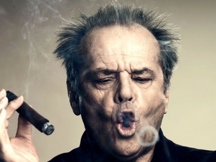 Jack Nicholson Portrait Cigar Hair Amazing Actor HUGE GIANT Silk Cloth Poster Art Bedroom Decoration image