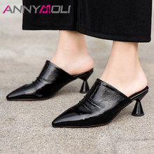 ANNYMOLI Woman Mules Shoes Natural Genuine Leather Pumps Strange Style Heels Pumps Pleated Pointed Toe High Heel Ladies Footwear цена 2017