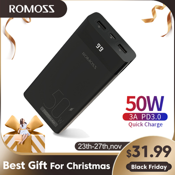 ROMOSS PPD20 50W Power Bank 20000mAh PD Quick Charge 20000 mAh Powerbank Portable External Battery Charger For iPhone Xiaomi Mi 20000mah power bank for xiaomi iphone portable powerbank 20000 mah mirror screen usb charger mobile external battery pack