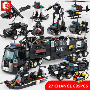 695Pcs City SWAT Police Truck Building Blocks Sets Kit Ship Helicopter Vehicle Playmobil Brinquedos Bricks Kids Toys Sembo Block
