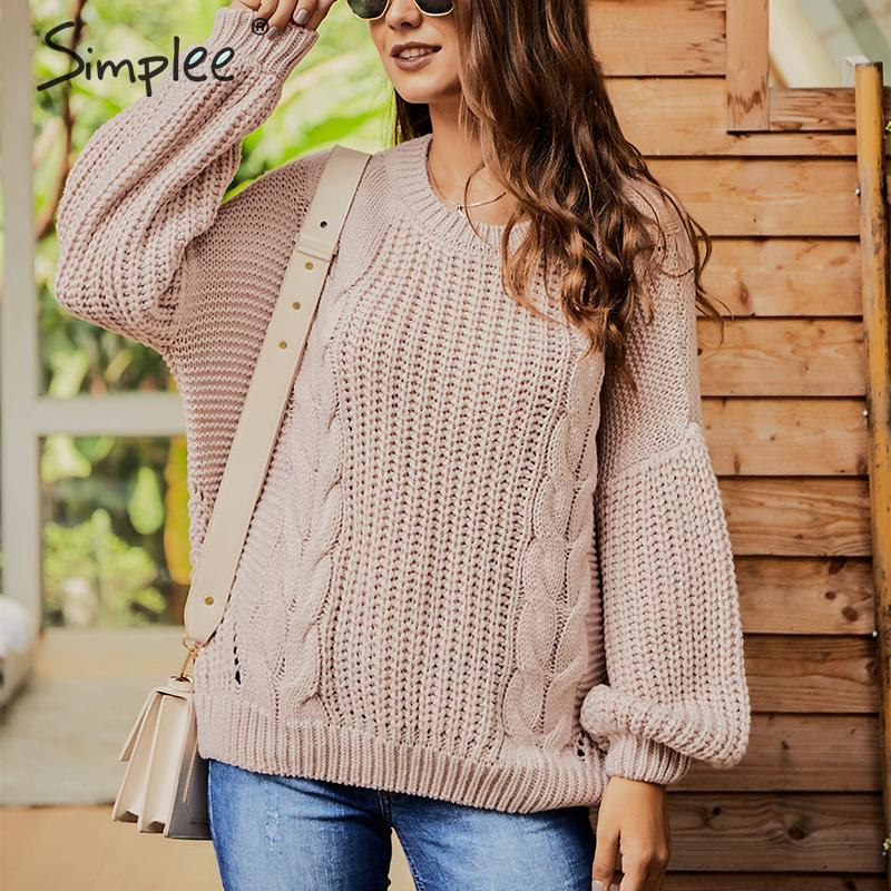 Simplee Sexy Back Hollow Out Women Pullover Sweater Lantern Sleeve Autumn Winter Female Sweater Casual Twist Ladies Jumper 2019