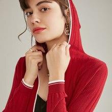 カーディガンのセーターの女性の綿ニットセーター2021春の新スタイルフード付きの襟スリムプラスサイズブラウス女性のvネック