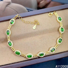 KJJEAXCMY fine jewelry 925 sterling silver inlaid natural diopside bracelet luxury female new support testing