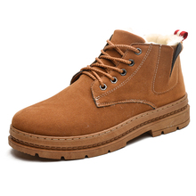 Winter Men Snow Boots Cow Suede Shoes Fur High Cut Male Plush Warm Casual Booties Ankle
