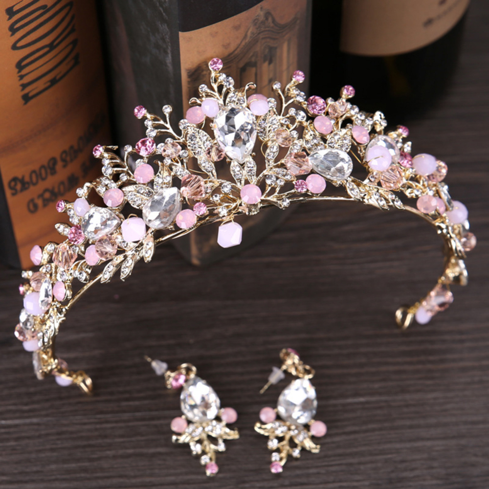 Bridal Tiara Pink Crystal Princess Wedding Decor Crown Hair Jewelry Rhinestone Bridal Pearls Crown Hair Accessory With Earrings