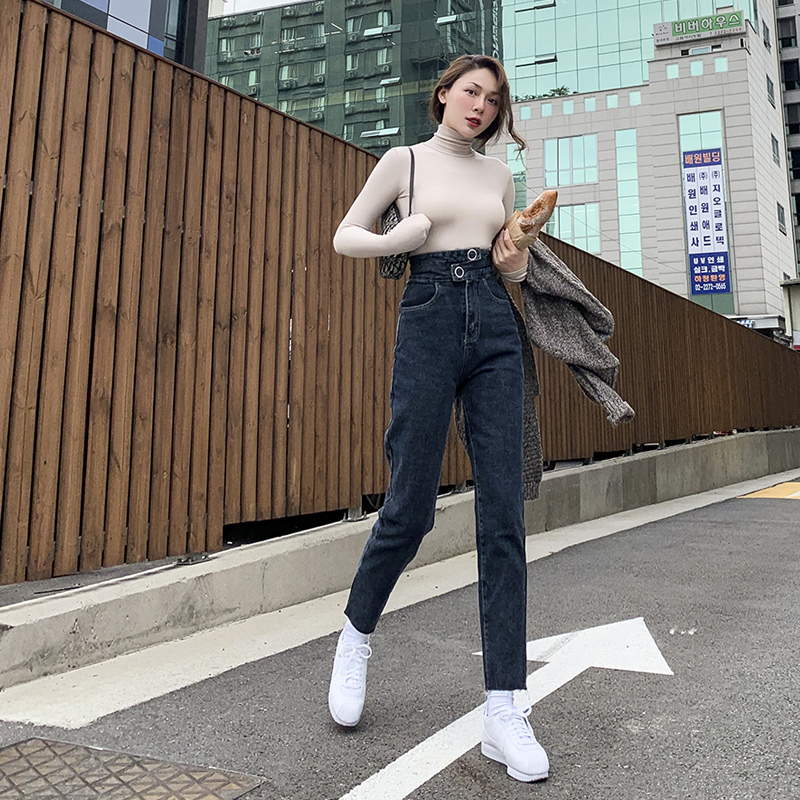 2019 Winter New Super Explicit Thin Vintage Carrot Pencil Ankle-Length Pants High Street Fashion High Waist Jeans Woman