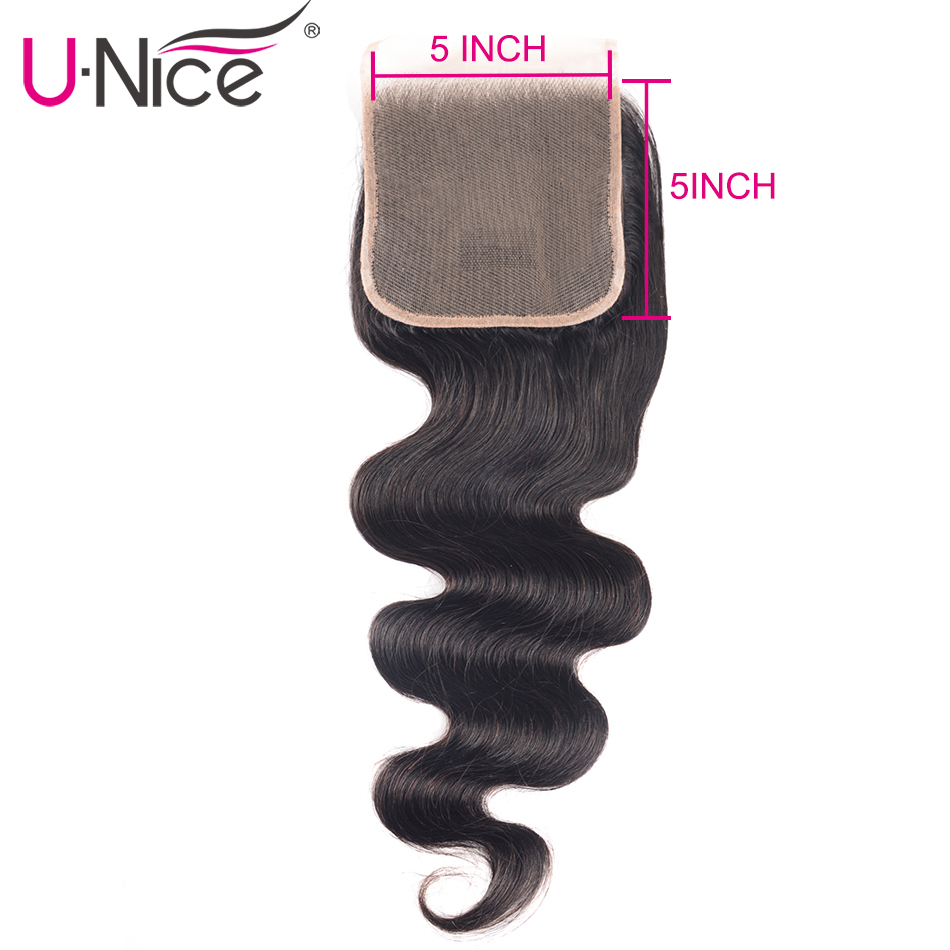 Unice Hair 100% Brazilian Human Hair Body Wave 8-18 Inch 5*5 Lace Closure Natural Color Remy Hair Weaving 1PC Free Shipping