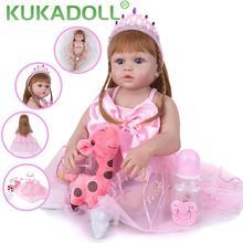 KUKADOLL Schöne Silikon Prinzessin Puppe 57 CM Reborn Baby Puppe Volle Vinyl Körper Bebe Rebron Whaterproof Für Kid Geburtstag Weihnachten geschenk