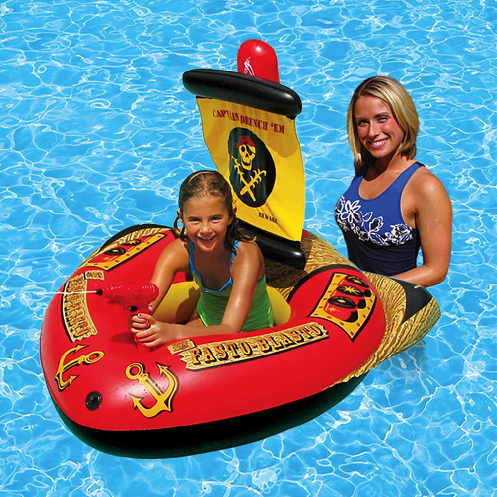 Childrens Swim Ring Inflatable Floating Bed 200 Kg Load Capacity Water Toy With Foot Pump Water Self-suction Injector