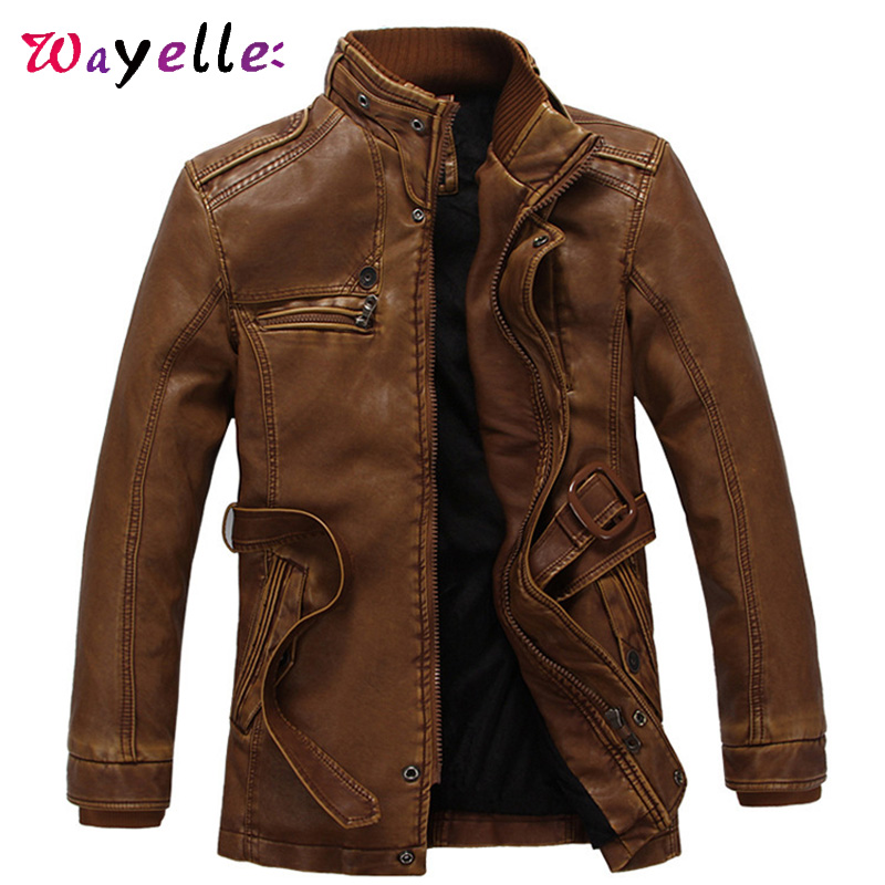 Faux Fur Coat Men Winter PU Leather Jacket Men Fleece Thicken Warm Faux Leather Jacket Coat Men Casual Moto Biker With Belt  6XL