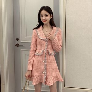 Image 2 - Sweet Pink Dress Long Sleeve Korean Style Buttons Mini Thick Winter Dress Women Good Quality Ruffle Kawaii Vintage Vestido Mujer