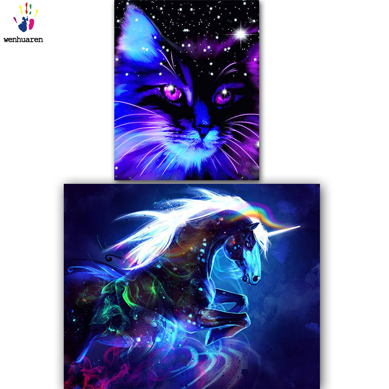 DIY Colorings Pictures By Numbers With Colors Colored Cats And Horses Picture Drawing Painting By Numbers Framed Home