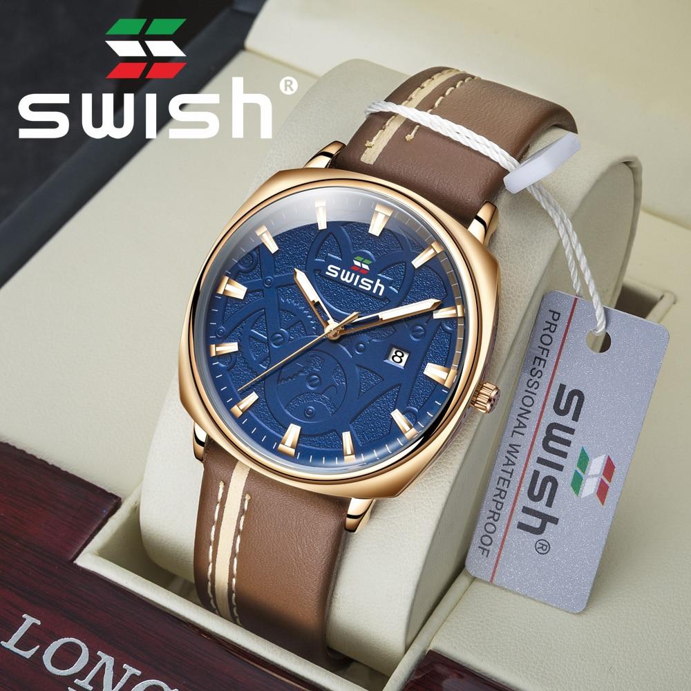 Luxury Waterproof Brown Watches Quartz Brand SWISH 2020 Waterproof Leather Military Watch Fashion Sport Wristwatch Heren Horloge 1