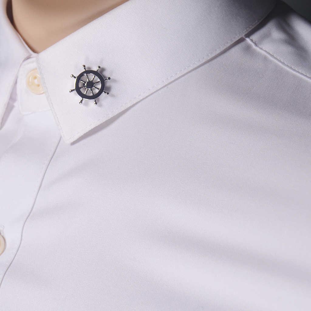 Moda yeni çapa Metal emaye broş Pin yaka rozeti düğün parti için erkek zarif gömlek broş takı