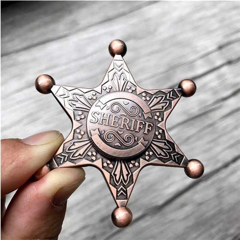 Yeni Şerif En iyi ABD Polis Rozeti Cosplay Başlangıç Kostümleri Aksesuarları Şerif Altıgen Neptün Çinko Alaşım Fidget Spinner