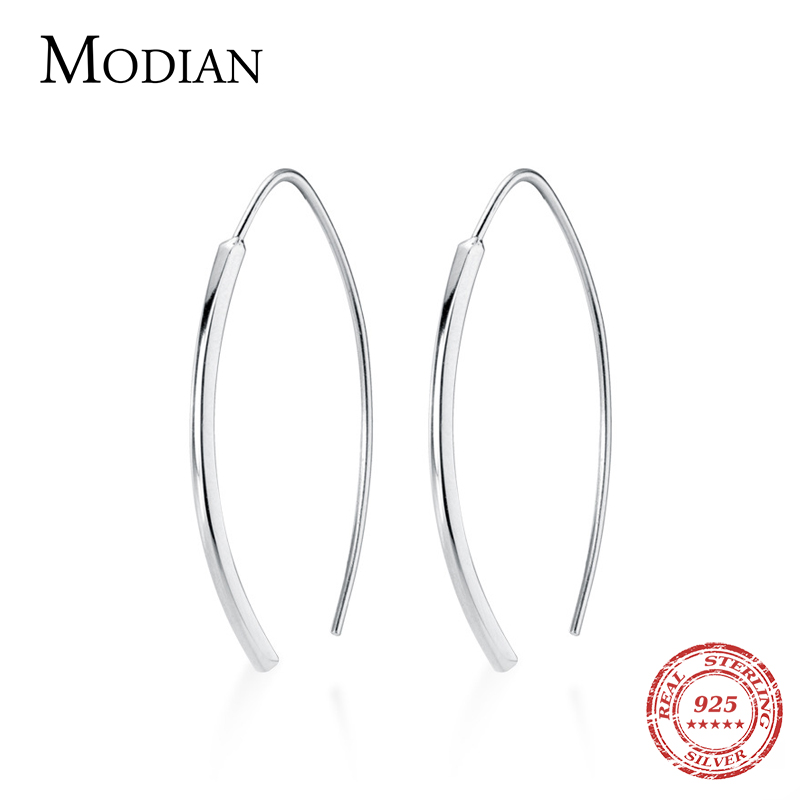 Modian Hot Sale Genuine 925 Sterling Silver Minimalism Geometric Design Dangle Earring for Women Luxury Silver Drop Jewelry