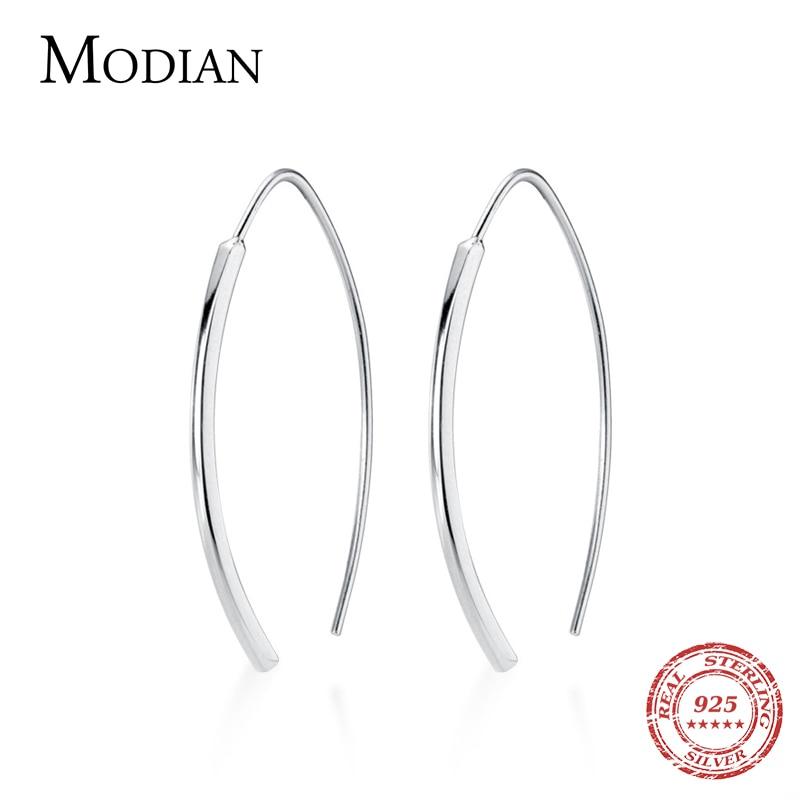 Modian Hot Sale Genuine 925 Sterling Silver Minimalism Geometric Design Dangle Earring for Women Luxury Silver Drop Jewelry