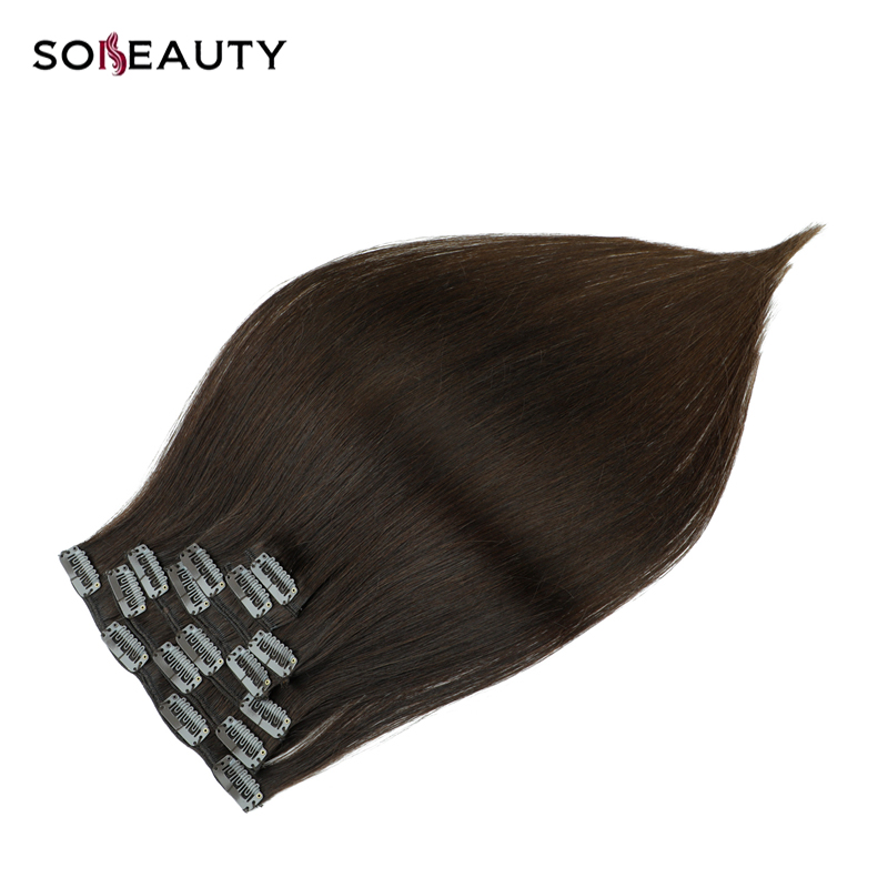 SOBEAUTY  Double Drawn Remy Clip In On Human Hair Extensions 14''16'18' 7pcs 16 Clips Natural Straight Clip Ins Fast Deliver