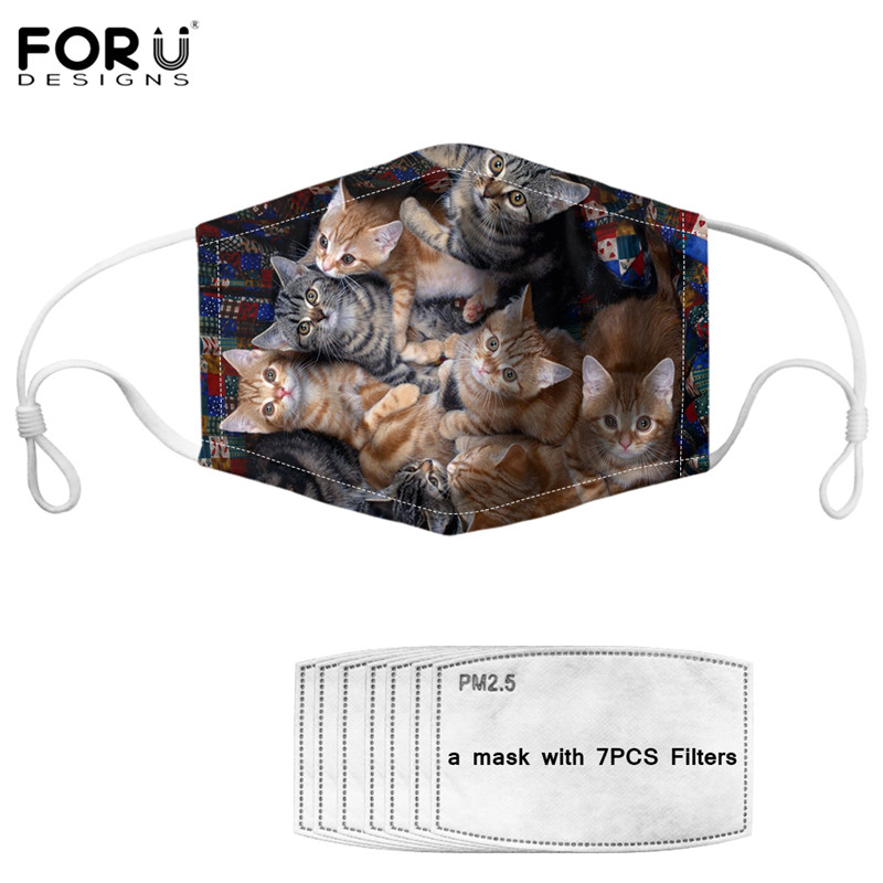 FORUDESINGS 3D Cute Mouth Maske Cats Print Ladies Kawaii Prevent PM 2.5 Germproof Half Mouth Nose Face Cover Soft Elastic Masque
