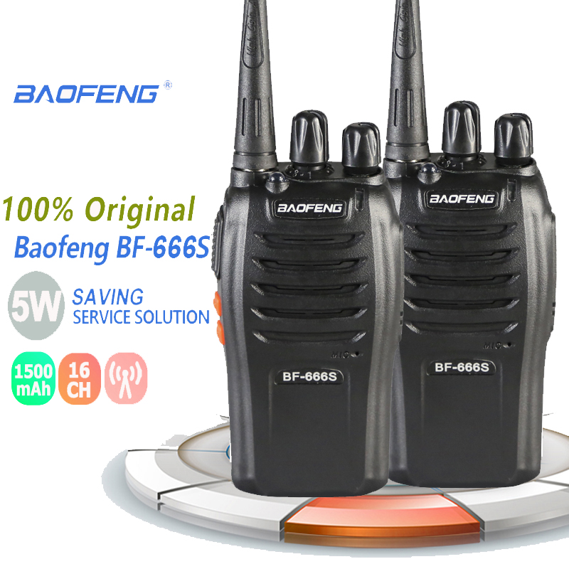2PCS Baofeng BF-666S Handheld Walkie Talkie 5W 16CH UHF 400-470MHz Portable Two-way Walky Talky Professional Transceiver Amador