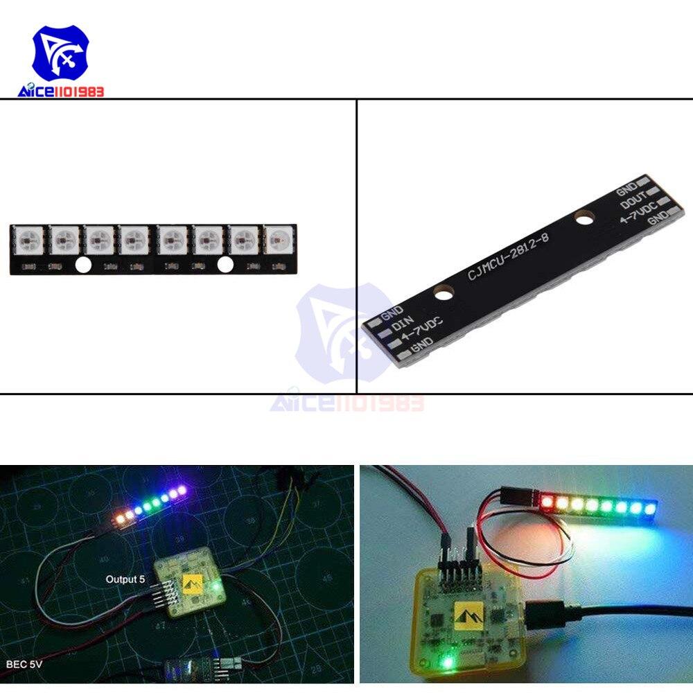 Diymore-Placa de desarrollo LED WS2812, 8 Bits, 5050 RGB, a todo Color, 4 pines, 6Pin, para Arduino