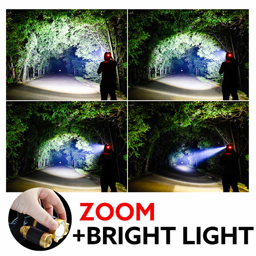 Faróis led lâmpada de cabeça super brilhante xml 3 * t6 led farol lanterna tocha 18650 tático à prova dwaterproof água tourch luz