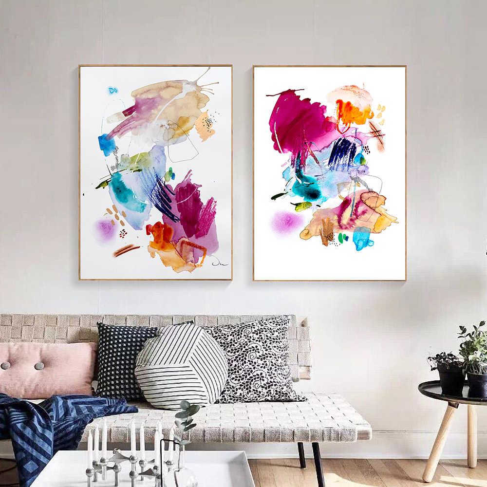 غير المؤطرة الحديثة الملونة مجردة المياه اللون طباعة قماش اللوحة ملصق جدار الفن لغرفة المعيشة ديكور المنزل طلاء جدران