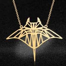 Collar grande de acero inoxidable para mujer, gargantilla de 40cm con forma de pez rayo, joyería de tendencia, regalo especial, 100%