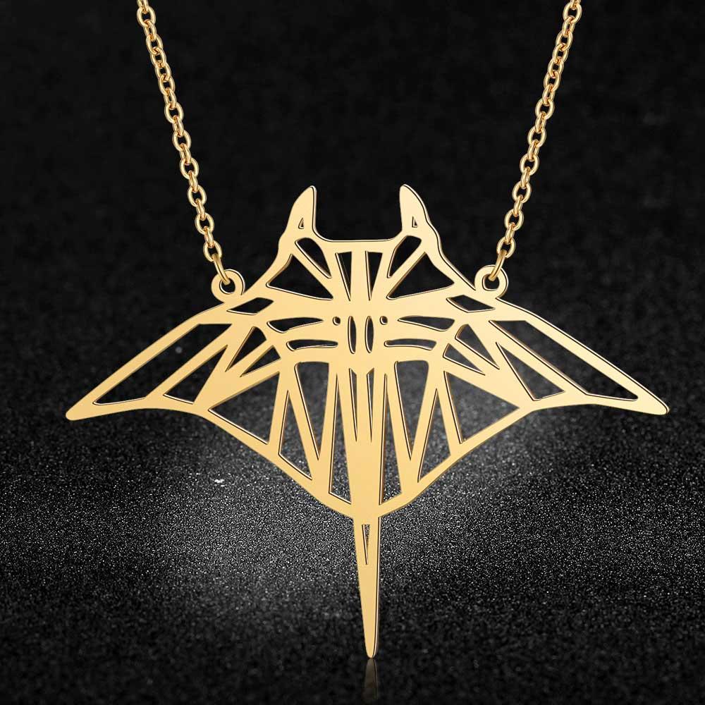 100% real aço inoxidável 40cm grande manta ray peixe longo colar tendência jóias colares presente especial