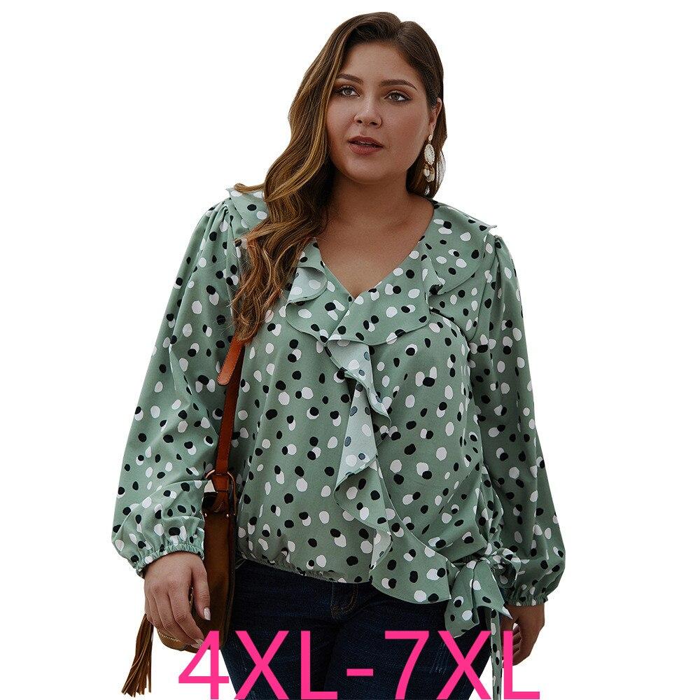 2019 Fashion Autumn Winter Plus Size Tops For Women Long Sleeve Casual Loose V Neck Dot Large T Shirt Top Green 4XL 5XL 6XL 7XL