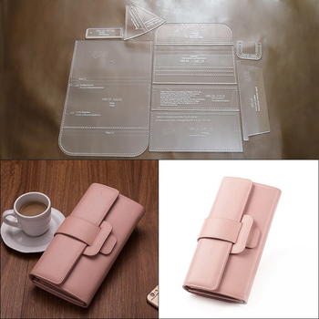 1Set DIY Kraft Paper Template New Ladies Fashion Casual Long Wallet Clutch Leather Craft Pattern DIY Stencil Sewing Pattern