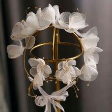 Повязка на голову с красивыми цветами из шелковой пряжи серьги