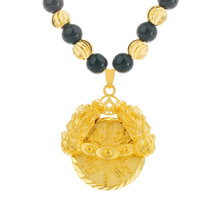 23.6 Inch Real 24K Gold Chain Pendant Necklaces for Women Men Fine Gold Jewelry with Obsidian Beads Chain Real 24K Gold Pendant real 24k yellow gold pendant women 999 gold 3d heart pendant