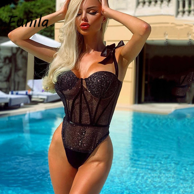 Sexy Bodysuit for Female Women Black Shiny Bandage One Piece Overalls Sleeveless Fashion Large Size Rompers Lace Up Top Bodycon 3