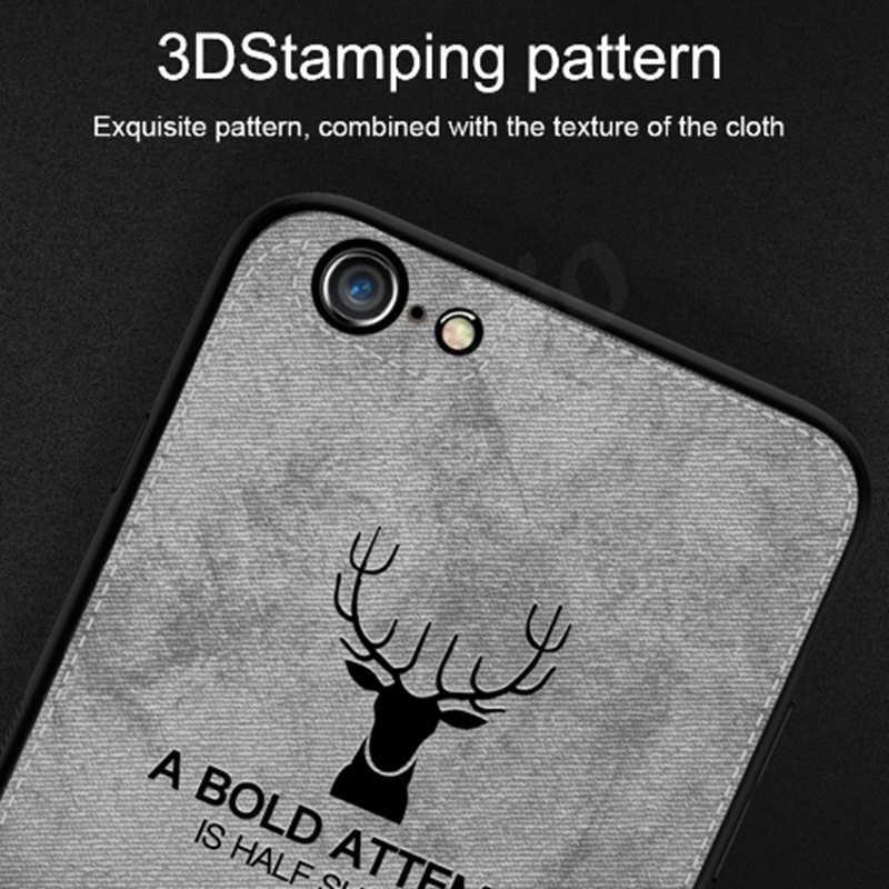 Ультра Тонкий Ретро мягкий полиуретановый край холст тиснением 3D ткань Олень чехол для iPhone X XR XS Max 8 7 6 S 6 S Plus Противоударная крышка