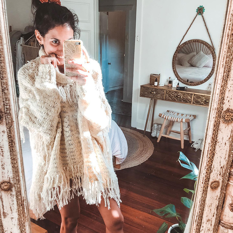 IUURANUS Chic High neck Tassel Bohemian Sweater Women Winter Casual Striped Knitted Loose Pullovers Female Autumn Outerwear in Pullovers from Women 39 s Clothing