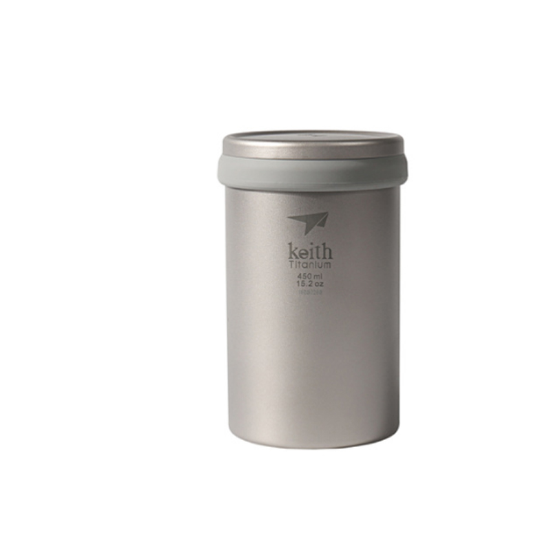 Keith 450ml Double Wall Titanium Mug With lid Camping Tea Coffee Maker Titanium Strainer For Cup Teapot Ti3521 Outdoor Tablewares     - title=