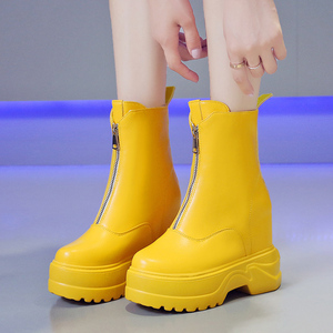 Image 1 - Rimocy Brights Orange Motorcycle Boots Women Autumn Winter Mid calf Riding Boots Woman Height Increase Front Zipper Ladies Shoes